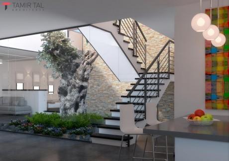 מבט מהמטבח אל הפטיו וגרם המדרגות